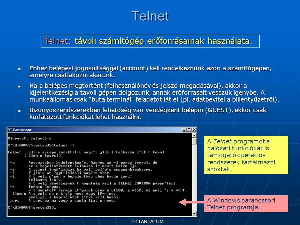 Telnet Ehhez belépési jogosultsággal (account) kell rendelkeznünk azon a számítógépen, amelyre csatlakozni akarunk. Ehhez belépési jogosultsággal (acc