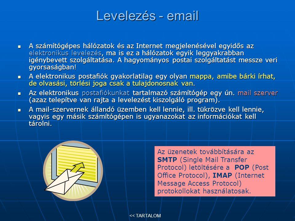 Levelezés - email A számítógépes hálózatok és az Internet megjelenésével egyidős az elektronikus levelezés, ma is ez a hálózatok egyik leggyakrabban i