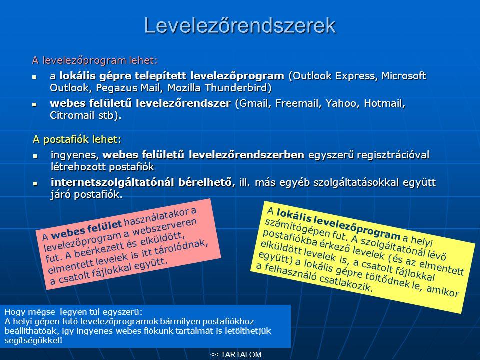 Levelezőrendszerek A levelezőprogram lehet: a lokális gépre telepített levelezőprogram (Outlook Express, Microsoft Outlook, Pegazus Mail, Mozilla Thun