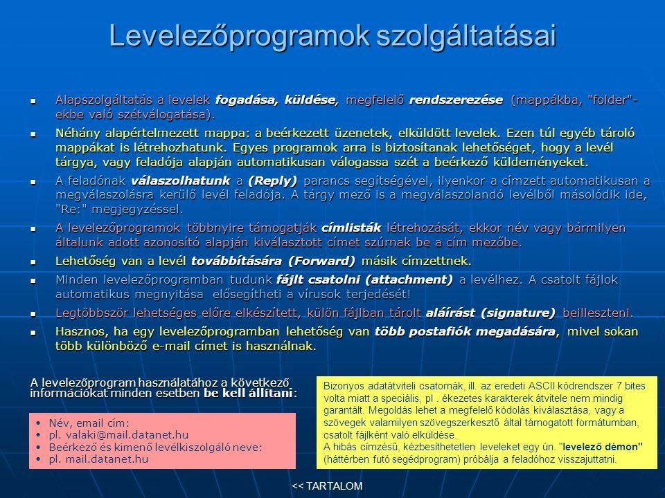 Levelezőprogramok szolgáltatásai Alapszolgáltatás a levelek fogadása, küldése, megfelelő rendszerezése (mappákba,
