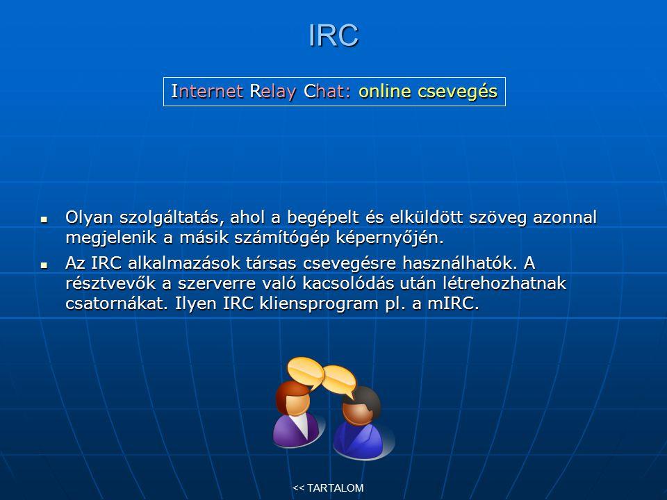 IRC Olyan szolgáltatás, ahol a begépelt és elküldött szöveg azonnal megjelenik a másik számítógép képernyőjén. Olyan szolgáltatás, ahol a begépelt és