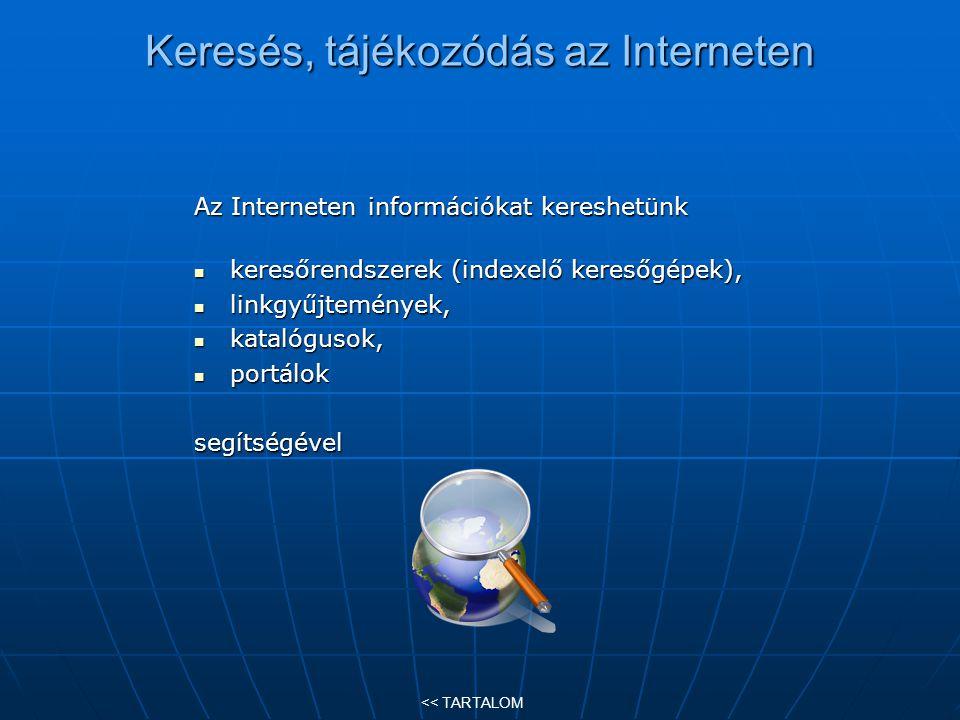 Keresés, tájékozódás az Interneten Az Interneten információkat kereshetünk keresőrendszerek (indexelő keresőgépek), keresőrendszerek (indexelő keresőg