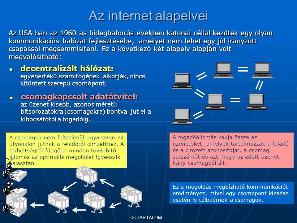 Az internet rövid története (1) 1960-as évek: az USA-ban nagygépek összeköttetése telefonvonalon, azaz már meglévő kommunikációs hálózaton keresztül.