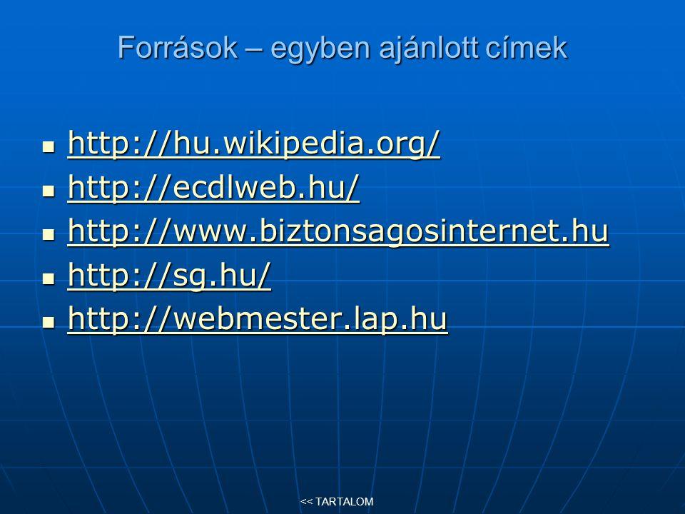 Források – egyben ajánlott címek http://hu.wikipedia.org/ http://hu.wikipedia.org/ http://hu.wikipedia.org/ http://ecdlweb.hu/ http://ecdlweb.hu/ http