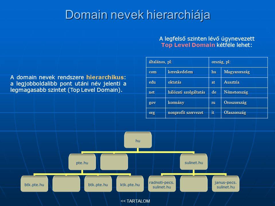 Domain nevek hierarchiája általános, pl: ország, pl: comkereskedelemhuMagyarország eduoktatásatAusztria net hálózati szolgáltatás deNémetország govkor