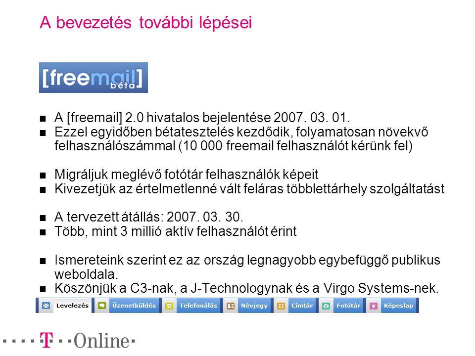 A bevezetés további lépései A [freemail] 2.0 hivatalos bejelentése 2007.