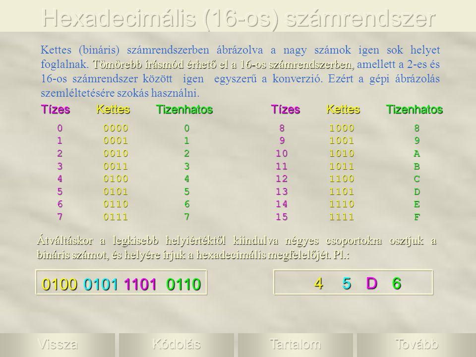 010001011101 Tömörebb írásmód érhető el a 16-os számrendszerben, Kettes (bináris) számrendszerben ábrázolva a nagy számok igen sok helyet foglalnak. T