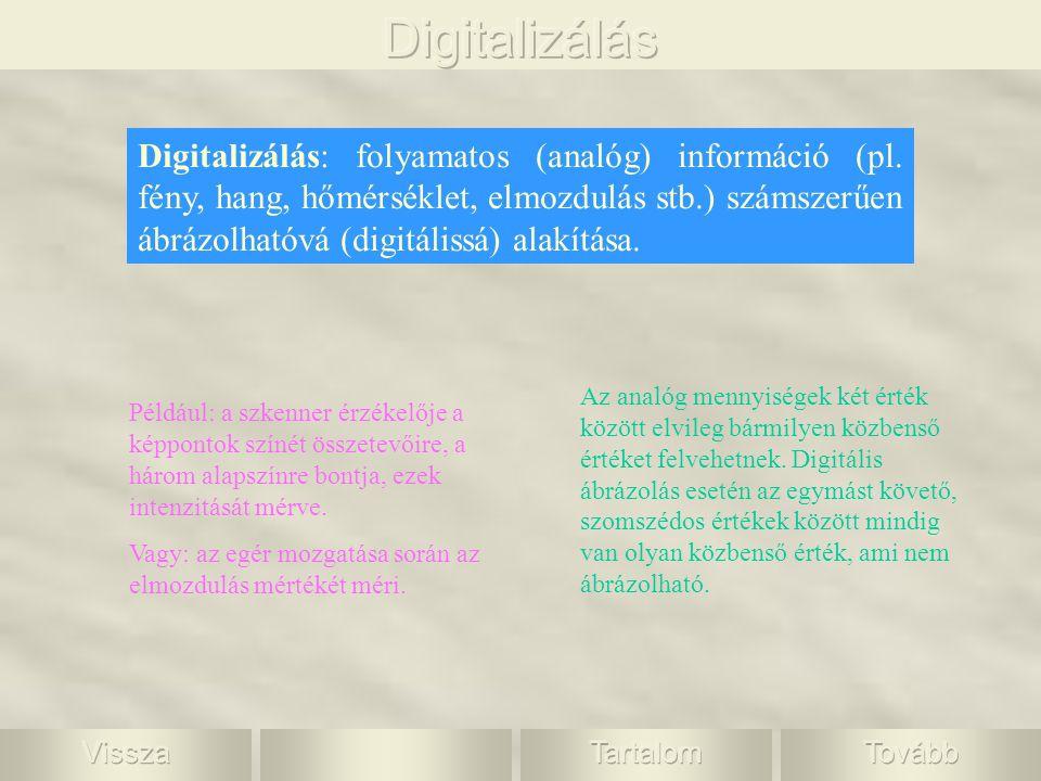Digitalizálás: folyamatos (analóg) információ (pl. fény, hang, hőmérséklet, elmozdulás stb.) számszerűen ábrázolhatóvá (digitálissá) alakítása. Az ana