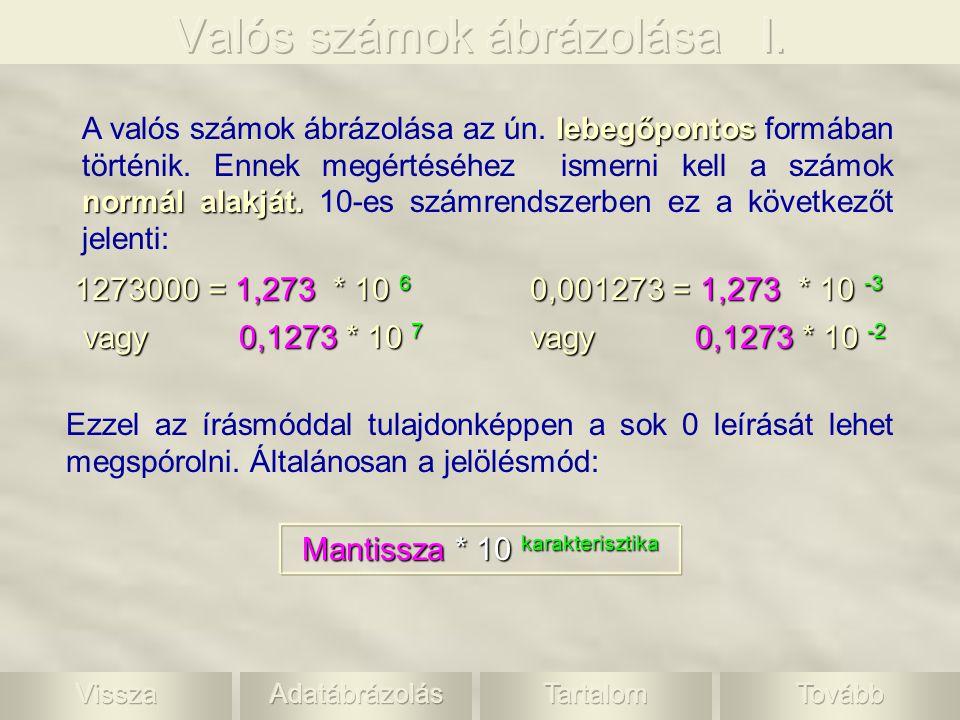 lebegőpontos normál alakját. A valós számok ábrázolása az ún. lebegőpontos formában történik. Ennek megértéséhez ismerni kell a számok normál alakját.