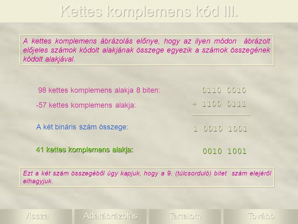 A kettes komplemens ábrázolás előnye, hogy az ilyen módon ábrázolt előjeles számok kódolt alakjának összege egyezik a számok összegének kódolt alakjáv