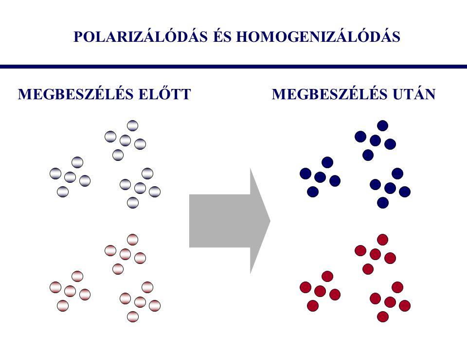 POLARIZÁLÓDÁS ÉS HOMOGENIZÁLÓDÁS MEGBESZÉLÉS ELŐTTMEGBESZÉLÉS UTÁN