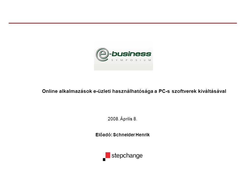 2008. Április 8. Előadó: Schneider Henrik Online alkalmazások e-üzleti használhatósága a PC-s szoftverek kiváltásával