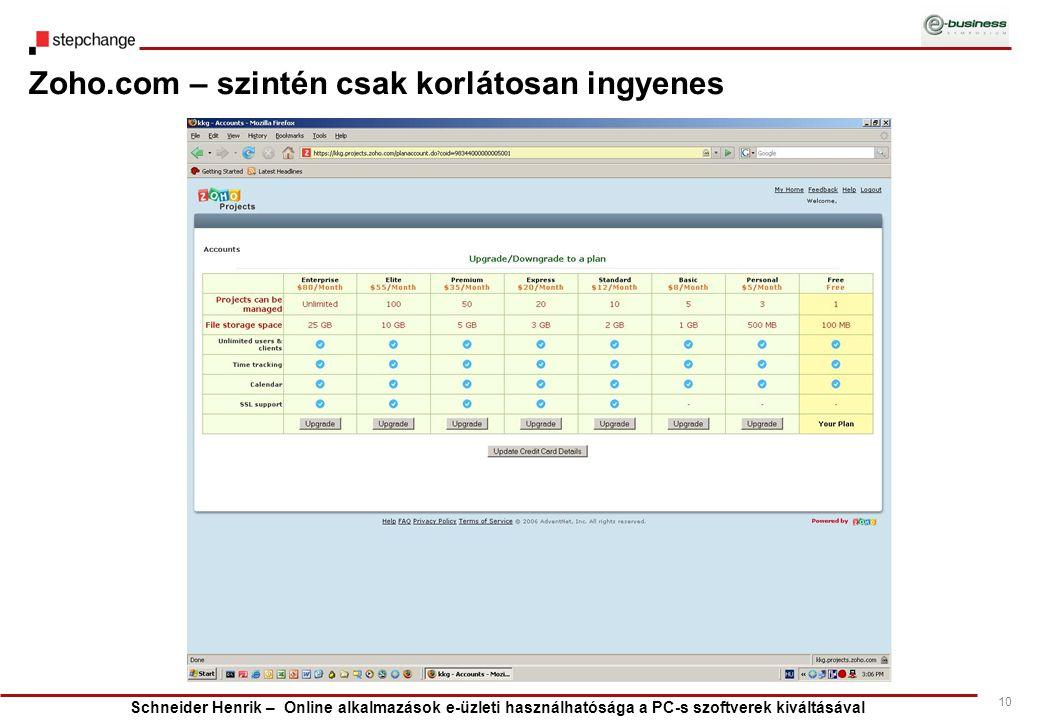 Schneider Henrik – Online alkalmazások e-üzleti használhatósága a PC-s szoftverek kiváltásával 10 Zoho.com – szintén csak korlátosan ingyenes