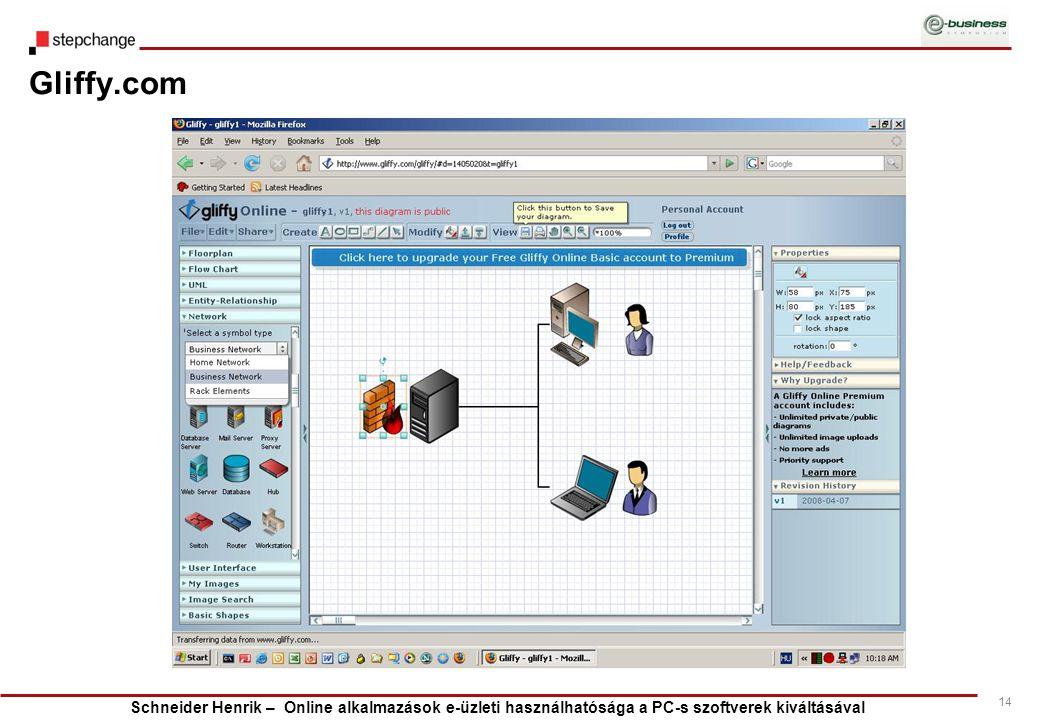 Schneider Henrik – Online alkalmazások e-üzleti használhatósága a PC-s szoftverek kiváltásával 14 Gliffy.com