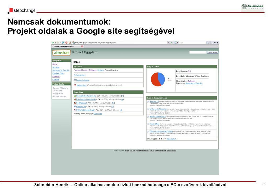 Schneider Henrik – Online alkalmazások e-üzleti használhatósága a PC-s szoftverek kiváltásával 5 Nemcsak dokumentumok: Projekt oldalak a Google site s