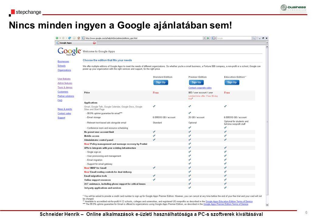 Schneider Henrik – Online alkalmazások e-üzleti használhatósága a PC-s szoftverek kiváltásával 6 Nincs minden ingyen a Google ajánlatában sem!