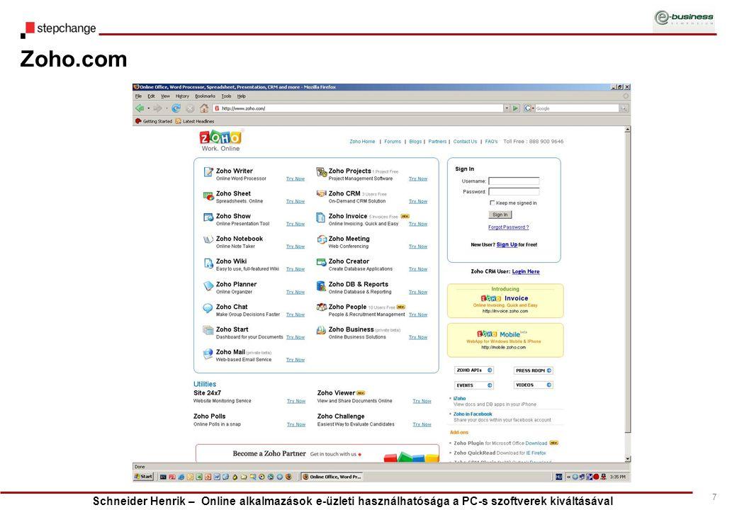 Schneider Henrik – Online alkalmazások e-üzleti használhatósága a PC-s szoftverek kiváltásával 7 Zoho.com