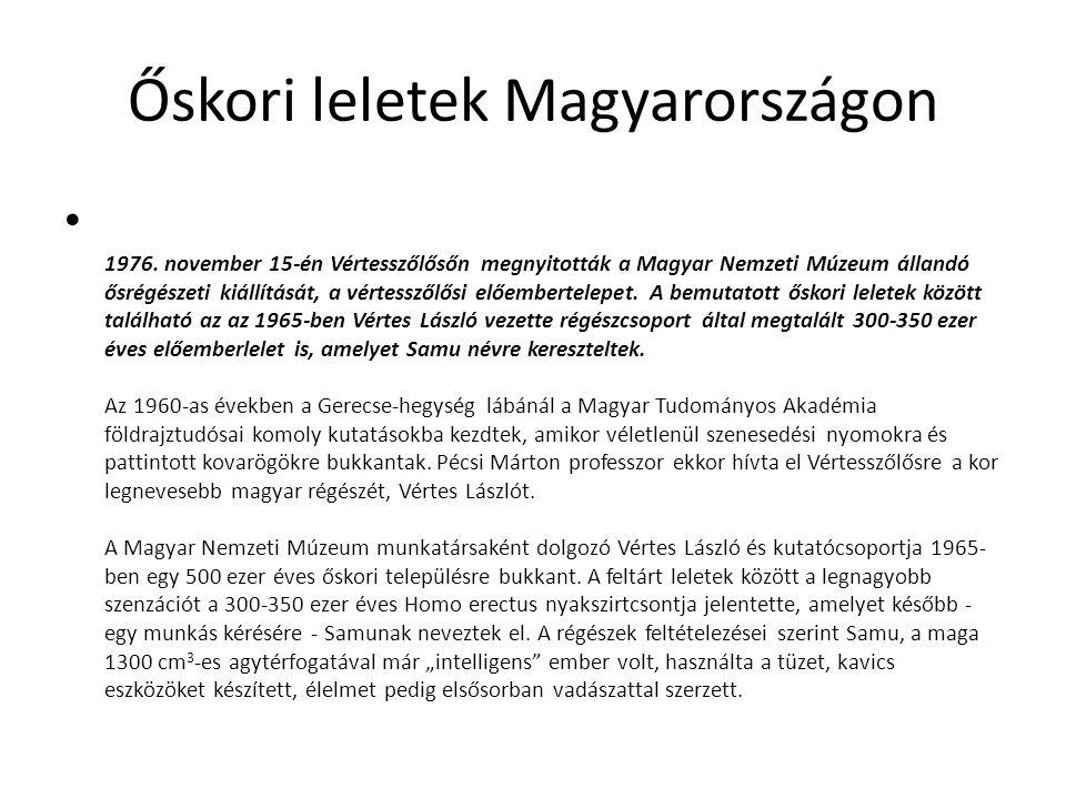 Őskori leletek Magyarországon 1976. november 15-én Vértesszőlősőn megnyitották a Magyar Nemzeti Múzeum állandó ősrégészeti kiállítását, a vértesszőlős