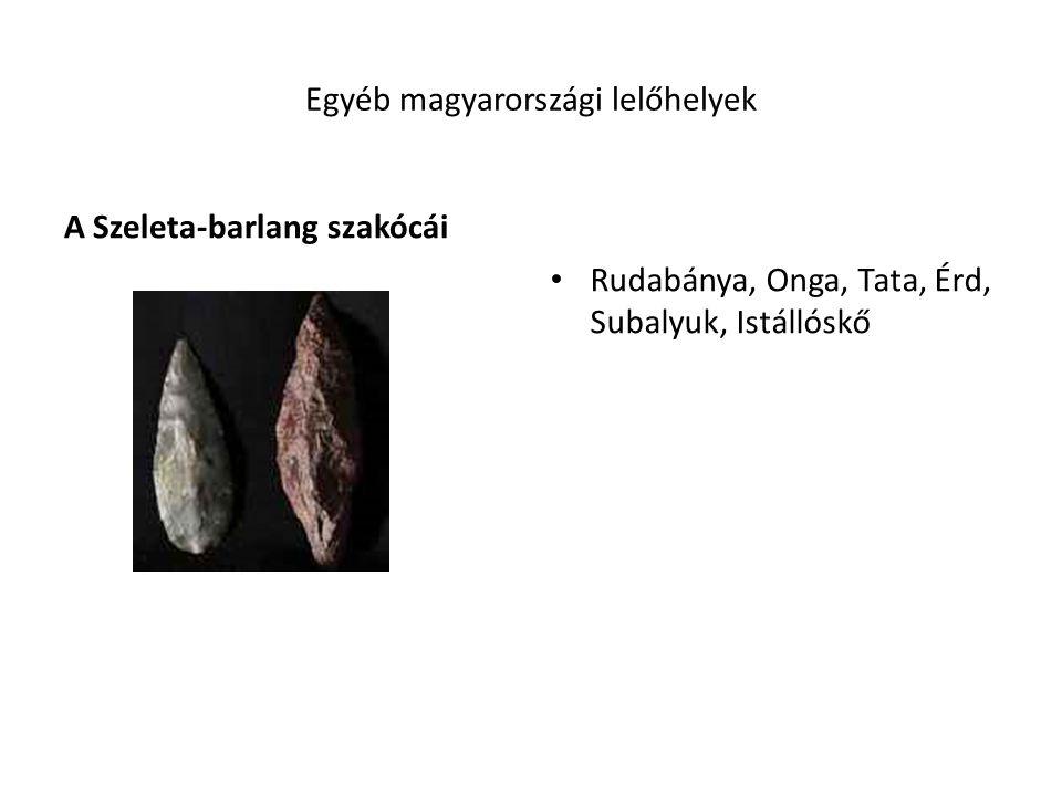 Egyéb magyarországi lelőhelyek A Szeleta-barlang szakócái Rudabánya, Onga, Tata, Érd, Subalyuk, Istállóskő