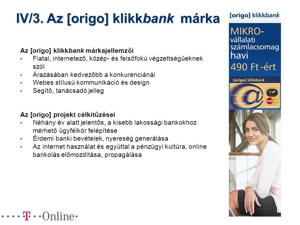 IV/3. Az [origo] klikkbank márka Az [origo] klikkbank márkajellemzői Fiatal, internetező, közép- és felsőfokú végzettségűeknek szól Árazásában kedvező