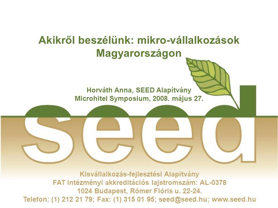 2 Mikro-vállalkozások Magyarországon Röviden a SEED Alapítványról  1990 óta működik.
