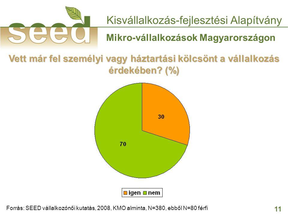 11 Mikro-vállalkozások Magyarországon Vett már fel személyi vagy háztartási kölcsönt a vállalkozás érdekében? (%) Forrás: SEED vállalkozónői kutatás,
