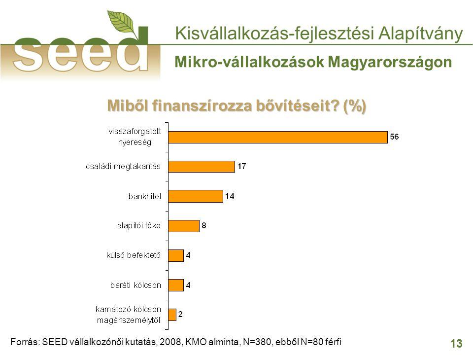 13 Mikro-vállalkozások Magyarországon Miből finanszírozza bővítéseit? (%) Forrás: SEED vállalkozónői kutatás, 2008, KMO alminta, N=380, ebből N=80 fér