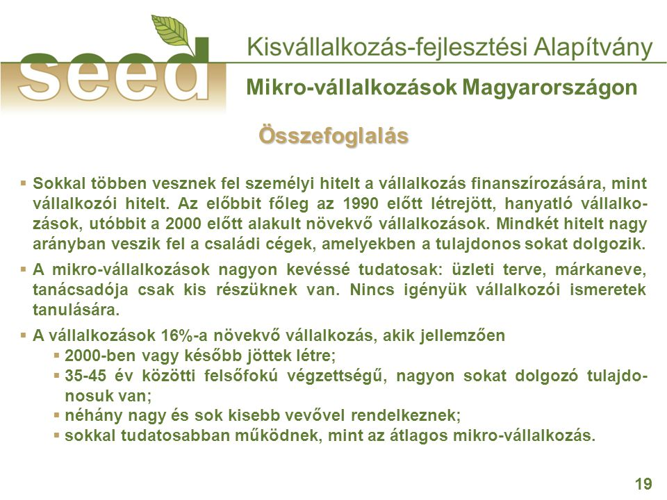 19 Mikro-vállalkozások Magyarországon  Sokkal többen vesznek fel személyi hitelt a vállalkozás finanszírozására, mint vállalkozói hitelt. Az előbbit