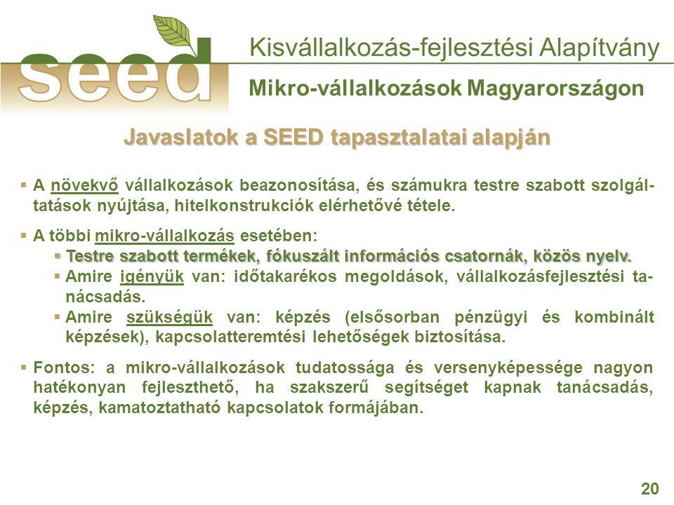 20 Mikro-vállalkozások Magyarországon  A növekvő vállalkozások beazonosítása, és számukra testre szabott szolgál- tatások nyújtása, hitelkonstrukciók elérhetővé tétele.