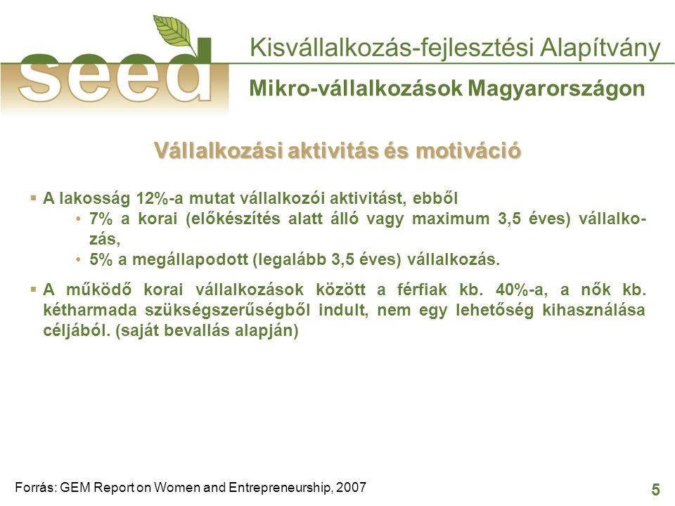 5 Mikro-vállalkozások Magyarországon Forrás: GEM Report on Women and Entrepreneurship, 2007 Vállalkozási aktivitás és motiváció  A lakosság 12%-a mutat vállalkozói aktivitást, ebből 7% a korai (előkészítés alatt álló vagy maximum 3,5 éves) vállalko- zás, 5% a megállapodott (legalább 3,5 éves) vállalkozás.