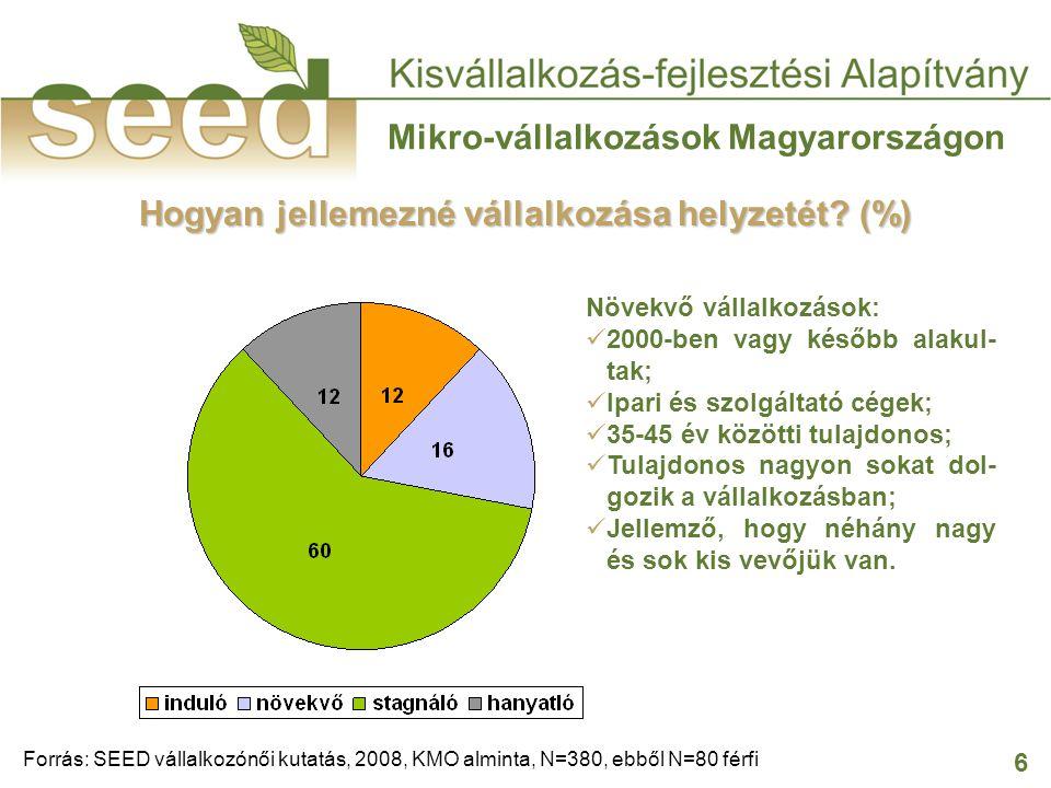 6 Mikro-vállalkozások Magyarországon Hogyan jellemezné vállalkozása helyzetét? (%) Forrás: SEED vállalkozónői kutatás, 2008, KMO alminta, N=380, ebből