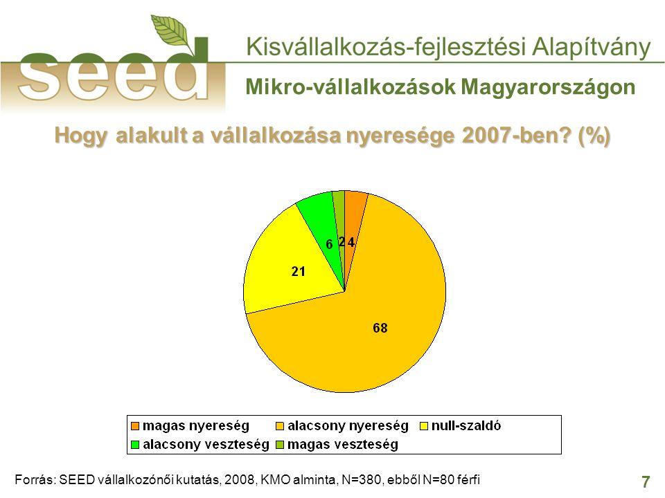 7 Mikro-vállalkozások Magyarországon Hogy alakult a vállalkozása nyeresége 2007-ben? (%) Forrás: SEED vállalkozónői kutatás, 2008, KMO alminta, N=380,
