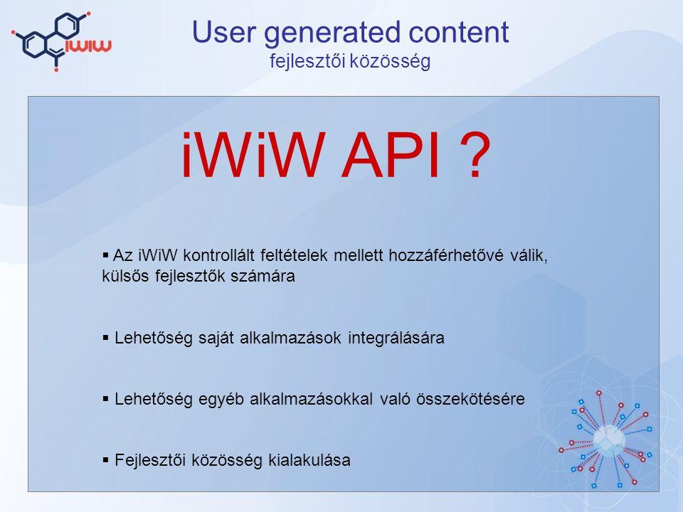 User generated content fejlesztői közösség iWiW API .