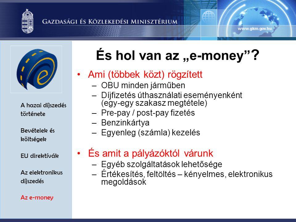 """A hazai díjszedés története Bevételek és költségek EU direktívák Az elektronikus díjszedés Az e-money És hol van az """"e-money ."""