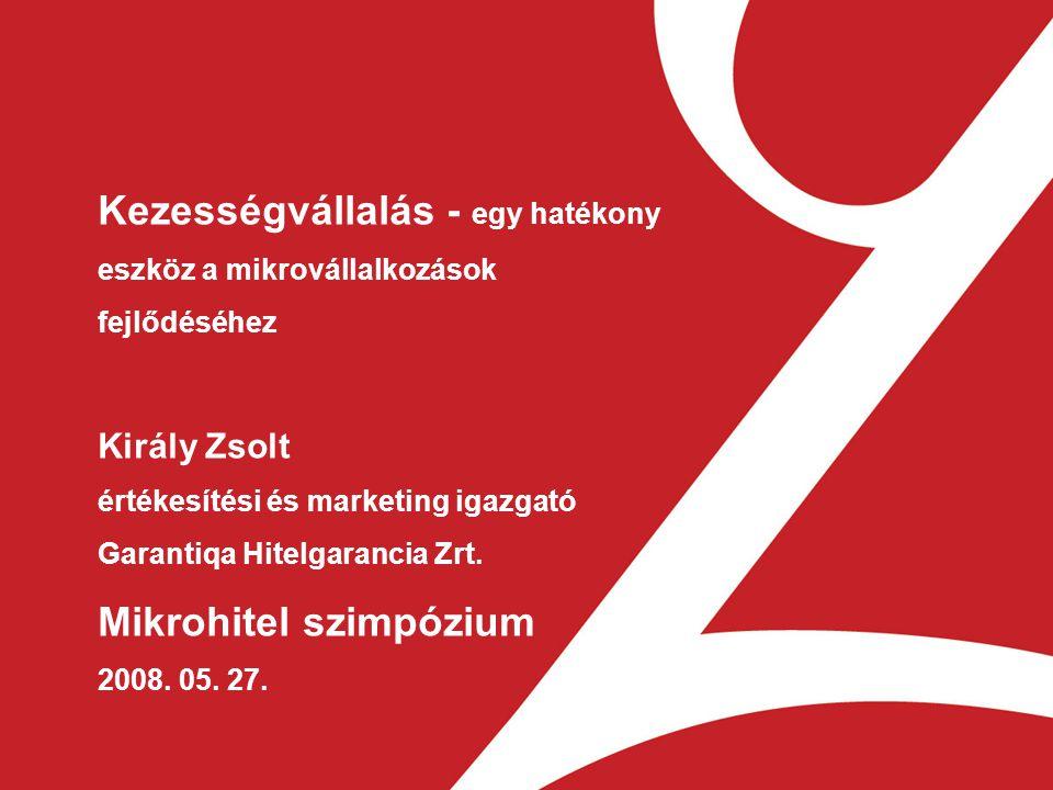 1 Kezességvállalás - egy hatékony eszköz a mikrovállalkozások fejlődéséhez Király Zsolt értékesítési és marketing igazgató Garantiqa Hitelgarancia Zrt.