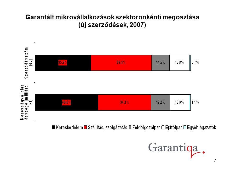 7 Garantált mikrovállalkozások szektoronkénti megoszlása (új szerződések, 2007)
