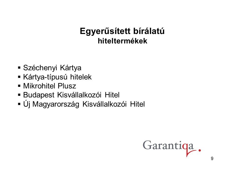 9  Széchenyi Kártya  Kártya-típusú hitelek  Mikrohitel Plusz  Budapest Kisvállalkozói Hitel  Új Magyarország Kisvállalkozói Hitel Egyerűsített bírálatú hiteltermékek