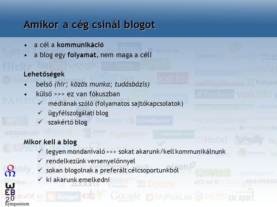 a cél a kommunikáció a blog egy folyamat, nem maga a cél! Lehetőségek belső (hír; közös munka; tudásbázis) külső >>> ez van fókuszban médiának szóló (