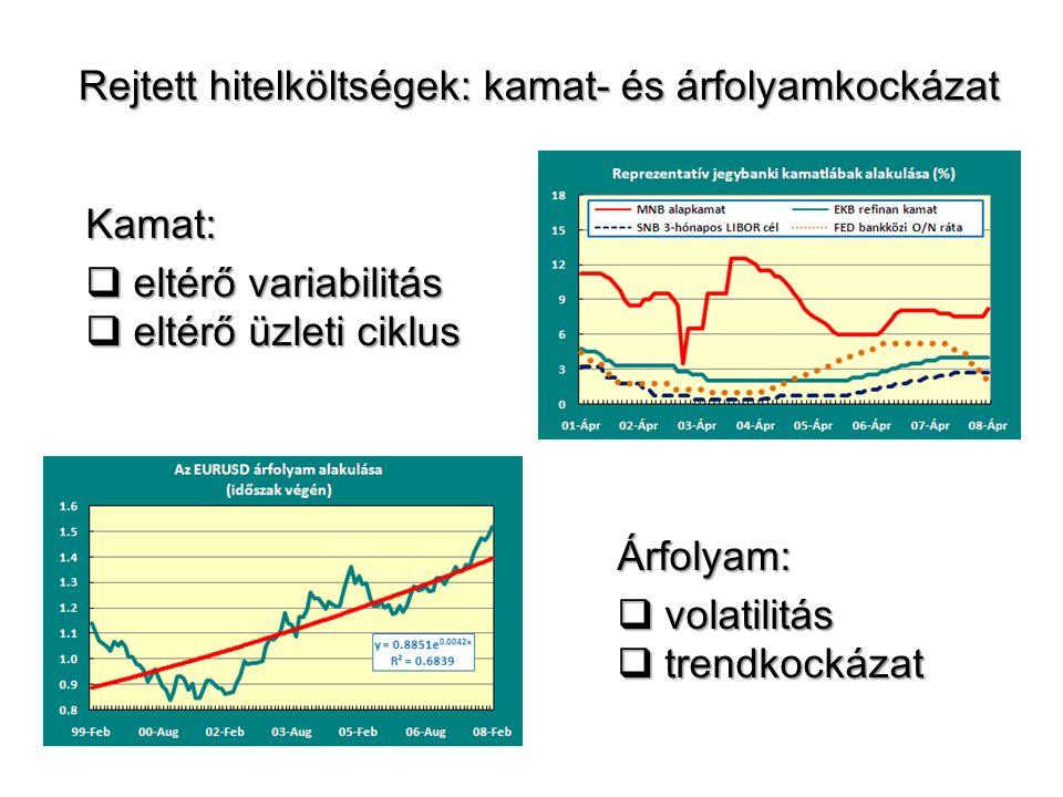 Kamat:  eltérő variabilitás  eltérő üzleti ciklus Rejtett hitelköltségek: kamat- és árfolyamkockázat Árfolyam:  volatilitás  trendkockázat