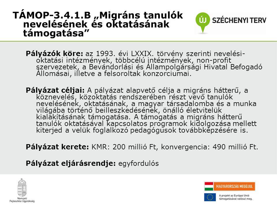 Pályázók köre: az 1993. évi LXXIX. törvény szerinti nevelési- oktatási intézmények, többcélú intézmények, non-profit szervezetek, a Bevándorlási és Ál