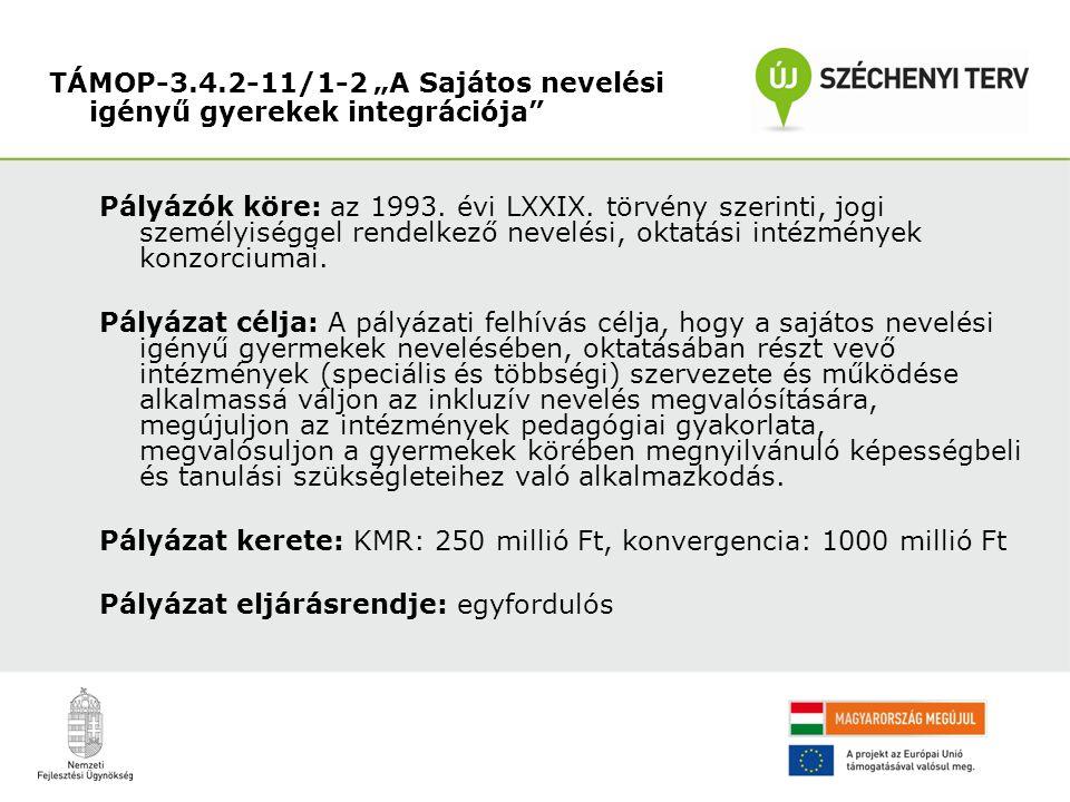 Pályázók köre: az 1993. évi LXXIX.