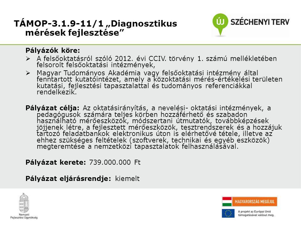 Pályázók köre:  A felsőoktatásról szóló 2012. évi CCIV. törvény 1. számú mellékletében felsorolt felsőoktatási intézmények,  Magyar Tudományos Akadé