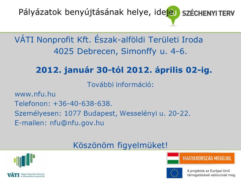 Pályázatok benyújtásának helye, ideje VÁTI Nonprofit Kft. Észak-alföldi Területi Iroda 4025 Debrecen, Simonffy u. 4-6. További információ: www.nfu.hu