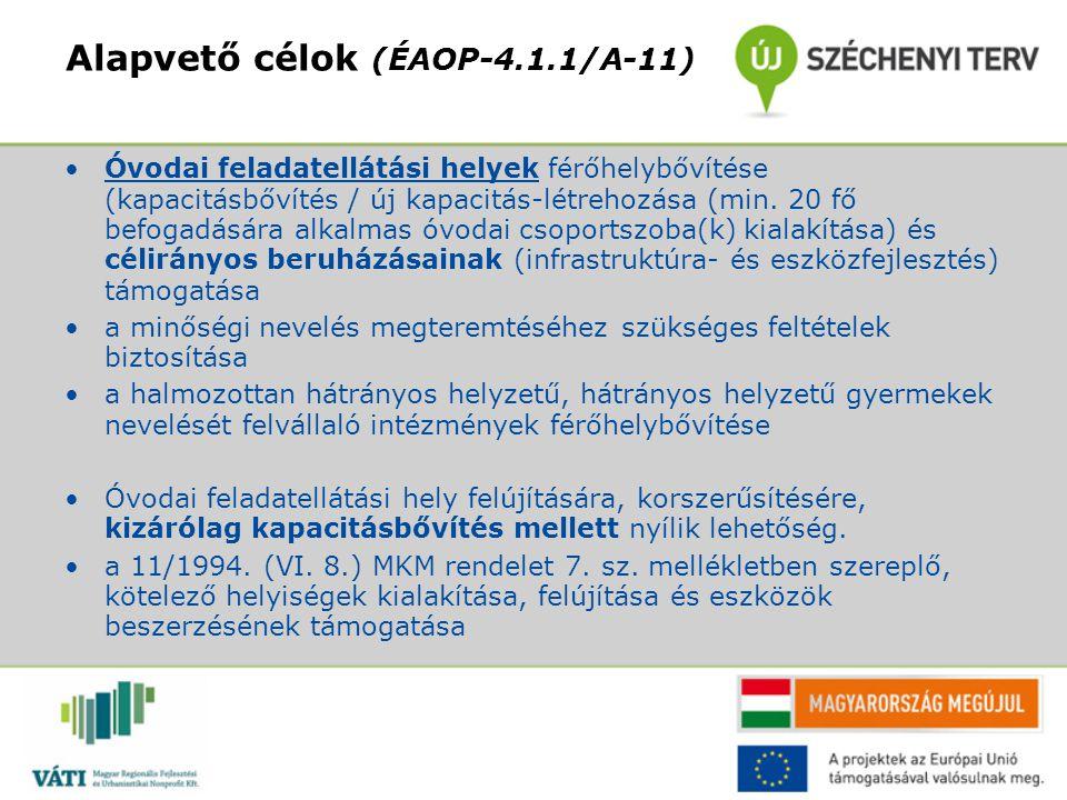Alapvető célok (ÉAOP-4.1.1/A-11) Óvodai feladatellátási helyek férőhelybővítése (kapacitásbővítés / új kapacitás-létrehozása (min. 20 fő befogadására