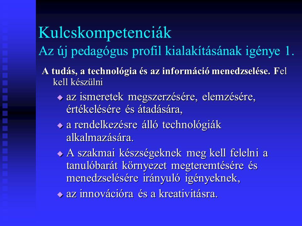 Kulcskompetenciák Az új pedagógus profil kialakításának igénye 1. A tudás, a technológia és az információ menedzselése. Fel kell készülni  az ismeret