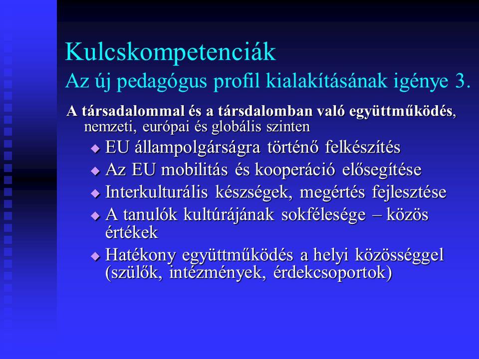 Kulcskompetenciák Az új pedagógus profil kialakításának igénye 3. A társadalommal és a társdalomban való együttműködés, nemzeti, európai és globális s