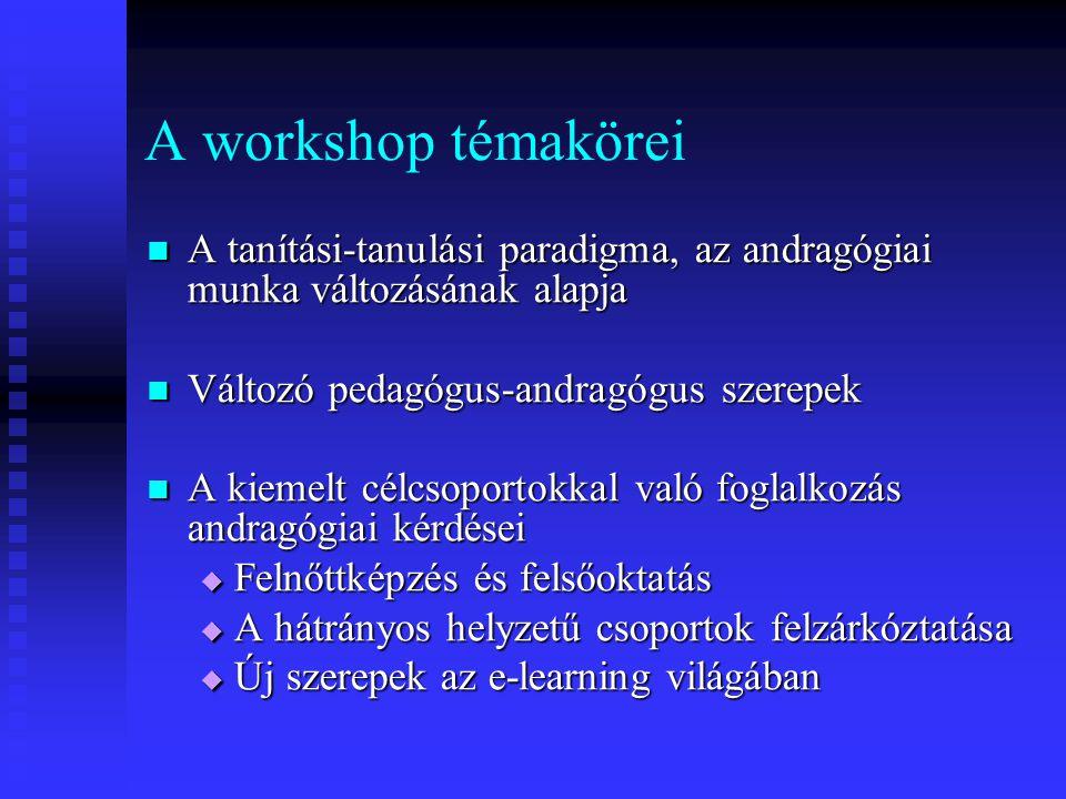 A workshop témakörei A tanítási-tanulási paradigma, az andragógiai munka változásának alapja A tanítási-tanulási paradigma, az andragógiai munka válto