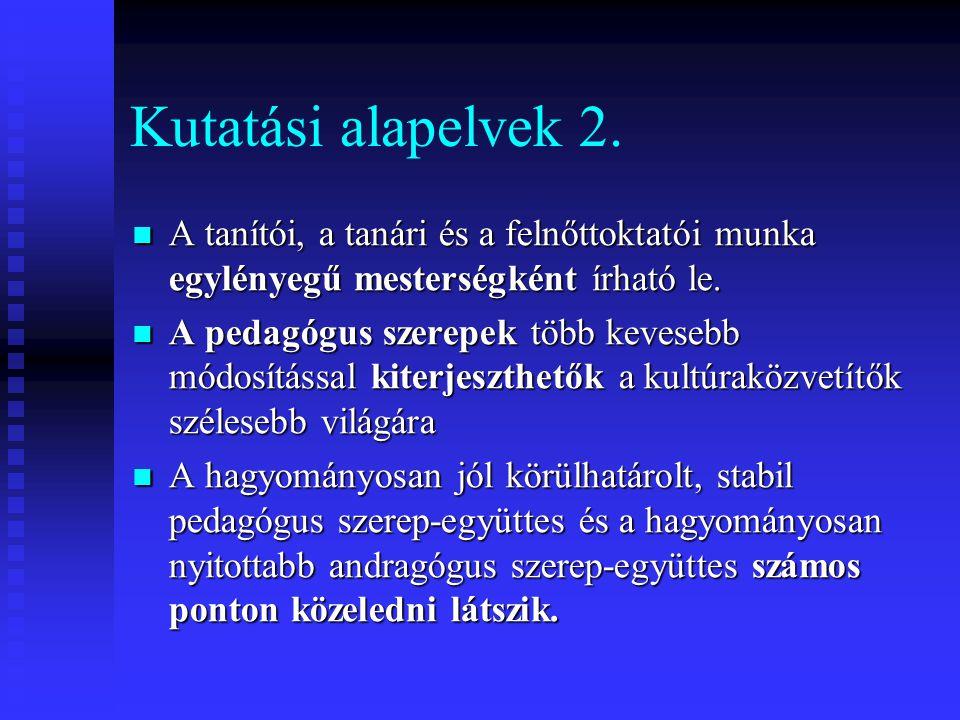 Kutatási alapelvek 2. A tanítói, a tanári és a felnőttoktatói munka egylényegű mesterségként írható le. A tanítói, a tanári és a felnőttoktatói munka