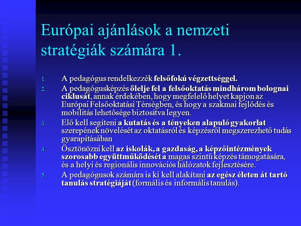 Európai ajánlások a nemzeti stratégiák számára 1. 1. A pedagógus rendelkezzék felsőfokú végzettséggel. 2. A pedagógusképzés ölelje fel a felsőoktatás