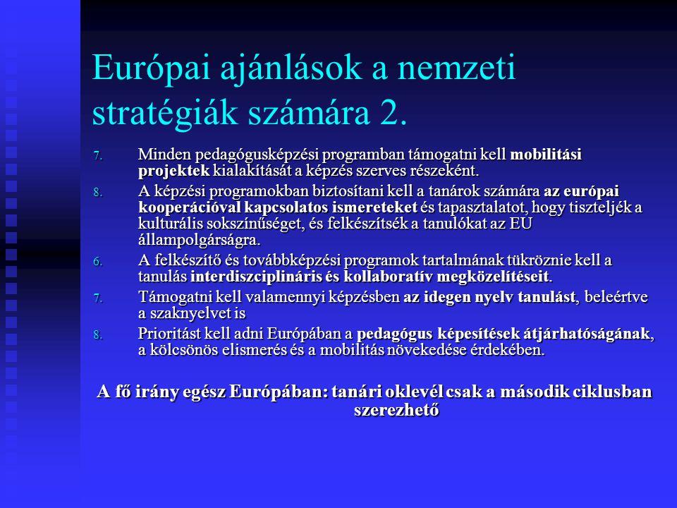 Európai ajánlások a nemzeti stratégiák számára 2. 7. Minden pedagógusképzési programban támogatni kell mobilitási projektek kialakítását a képzés szer